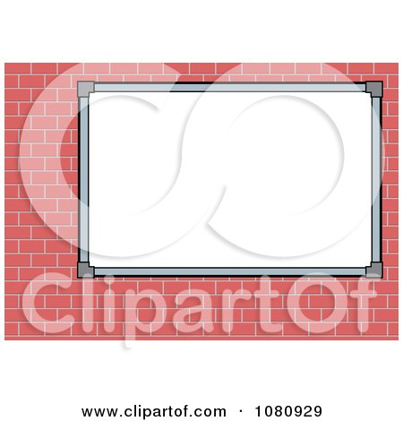 Clipart Blank White Sign Board On A Brick Wall - Royalty Free Vector Illustration by pauloribau