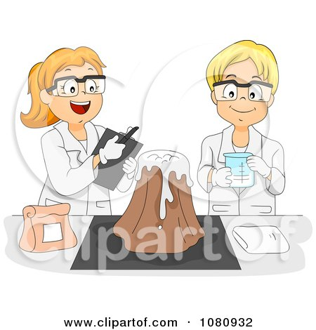 Clipart Male And Female Students Working On A Volcano Science Experiment - Royalty Free Vector Illustration by BNP Design Studio