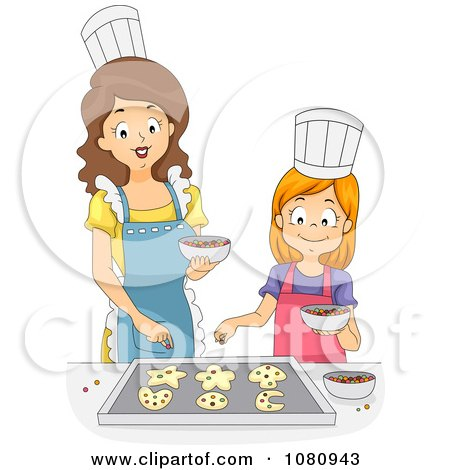 Clipart Home Economics Teacher Baking Cookies With A Girl ...