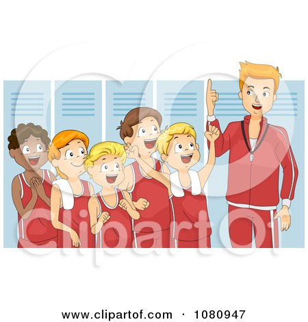 Clipart Coach Giving His Team A Pep Talk In A Locker Room - Royalty Free Vector Illustration by BNP Design Studio