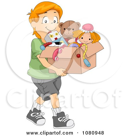 Clipart Charitable Boy Donating A Box Of Toys - Royalty Free Vector Illustration by BNP Design Studio