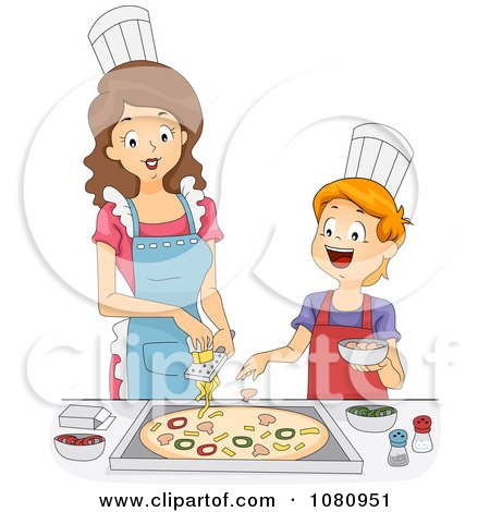 Clipart Home Economics Teacher Topping A Pizza With A Boy ...