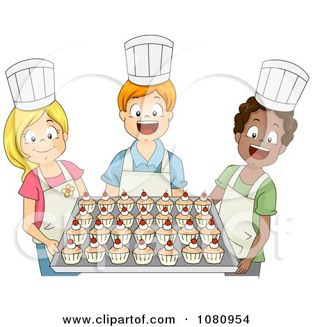 Clipart Baking Club Kids Holding A Tray Of Cupcakes - Royalty Free Vector Illustration by BNP Design Studio