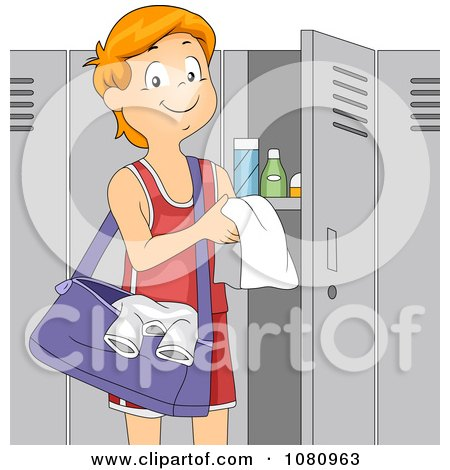 Clipart Teen Boy Athlete Standing By His Gym Locker - Royalty Free Vector Illustration by BNP Design Studio