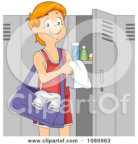 1080963 Clipart Teen Boy Athlete Standing By His Gym Locker Royalty Free Vector Illustration Teen lockerroom sex   teen Sex