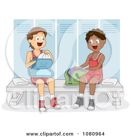 Clipart Teen Athletes In A Gym Locker Room - Royalty Free Vector Illustration by BNP Design Studio