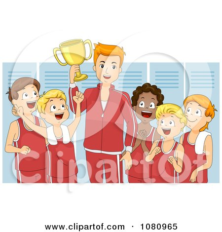 Clipart Victorious Coach And Team Holding A Trophy In A Locker Room - Royalty Free Vector Illustration by BNP Design Studio