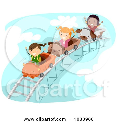 Clipart Stick Kids On A Roller Coaster Ride - Royalty Free Vector Illustration by BNP Design Studio