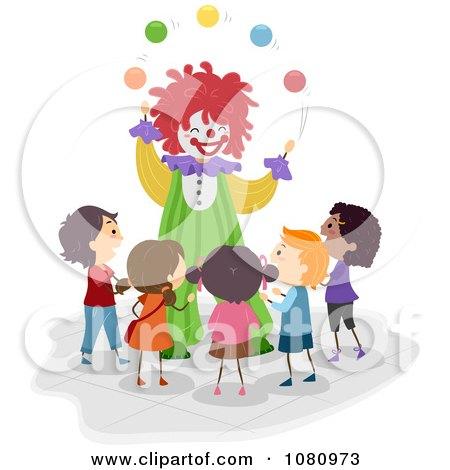Clipart Clown Juggling For Stick Kids - Royalty Free Vector Illustration by BNP Design Studio