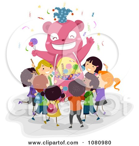 Clipart Stick Kids At A Bear Candy Kiosk - Royalty Free Vector Illustration by BNP Design Studio