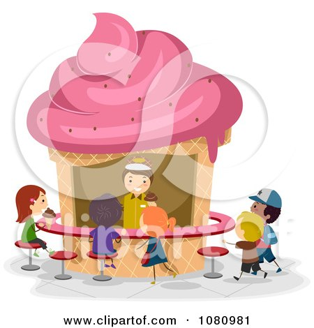 Clipart Stick Poeple Ordering Ice Cream From A Kiosk - Royalty Free Vector Illustration by BNP Design Studio