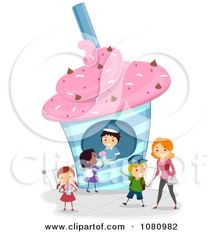 Clipart Stick People Buying Frozen Drinks - Royalty Free Vector Illustration by BNP Design Studio