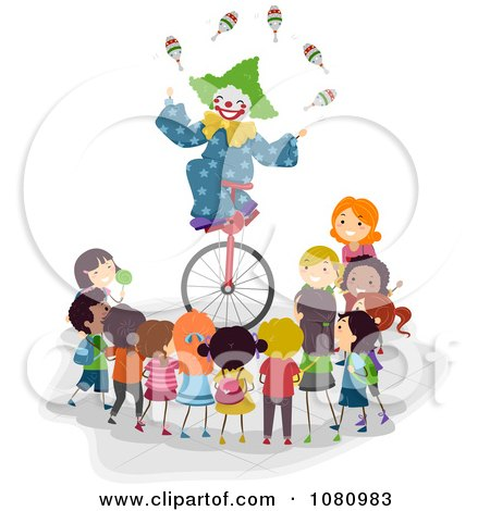 Clipart Stick Kids Watching A Clown Juggle On A Unicycle - Royalty Free Vector Illustration by BNP Design Studio