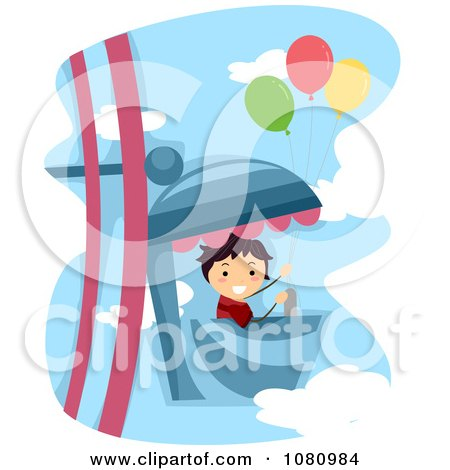 Clipart Stick Boy With Balloons On A Ferris Wheel Ride - Royalty Free Vector Illustration by BNP Design Studio