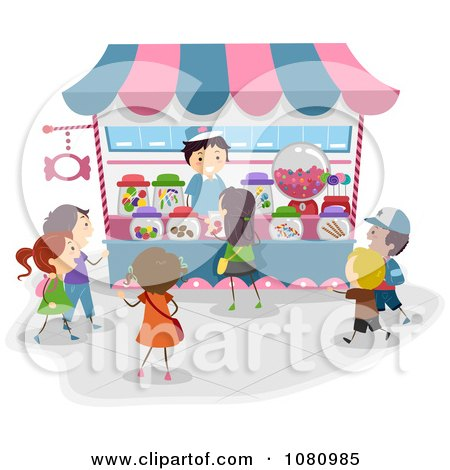 Clipart Stick Kids Lining Up At A Candy Kiosk - Royalty Free Vector Illustration by BNP Design Studio