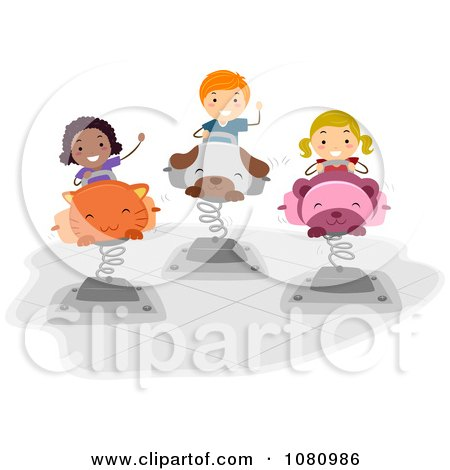 Clipart Stick Kids Playing On Bouncy Animals - Royalty Free Vector Illustration by BNP Design Studio