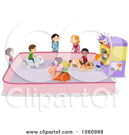 Clipart Stick Kids On An Animal Bumper Car Ride - Royalty Free Vector Illustration by BNP Design Studio