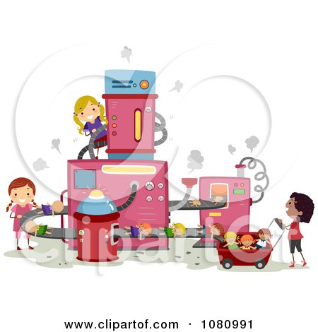 Clipart Stick Girls Making Dolls In A Factory - Royalty Free Vector Illustration by BNP Design Studio