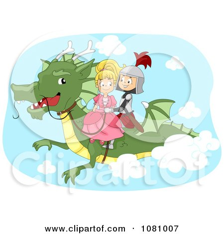 Clipart Knight And Princess Flying On A Dragon - Royalty Free Vector Illustration by BNP Design Studio
