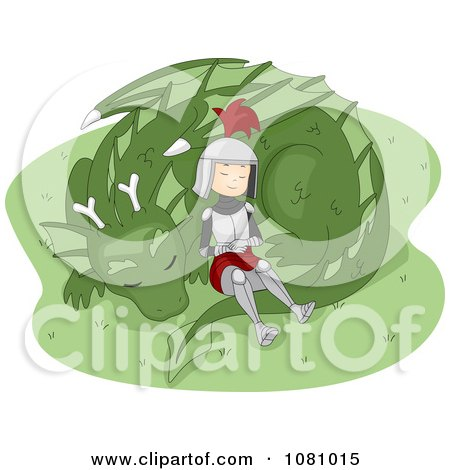 Clipart Knight Resting With A Dragon - Royalty Free Vector Illustration by BNP Design Studio