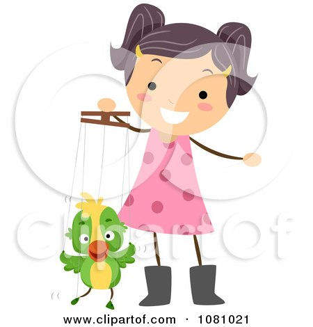 Clipart Stick Girl Playing With A Parrot Puppet - Royalty Free Vector Illustration by BNP Design Studio