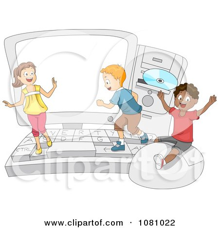 Clipart Students Playing On A Big Computer - Royalty Free Vector Illustration by BNP Design Studio