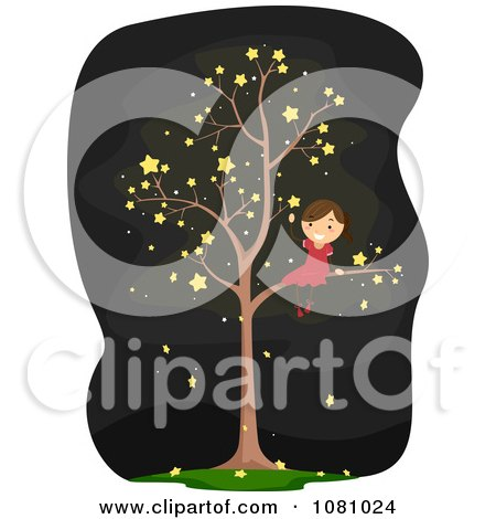 Clipart Stick Girl In A Starry Tree - Royalty Free Vector Illustration by BNP Design Studio