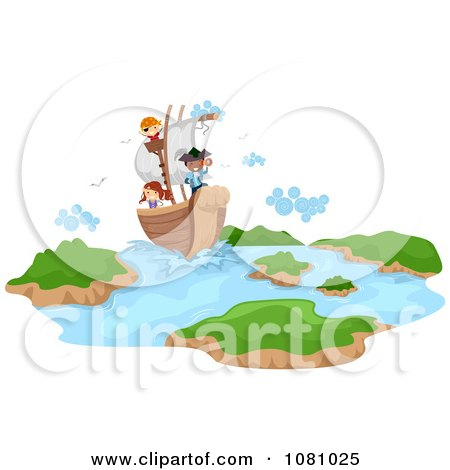 Clipart Stick Kids On A Pirate Ship - Royalty Free Vector Illustration by BNP Design Studio