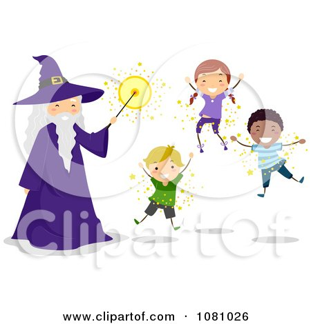 Clipart Stick Kids And A Wizard Floating - Royalty Free Vector Illustration by BNP Design Studio