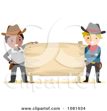 Clipart Stick Cowboys With A Blank Sign - Royalty Free Vector Illustration by BNP Design Studio