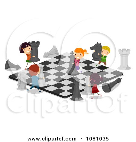 Clipart Stick Kids Playing On A Giant Chess Board - Royalty Free Vector Illustration by BNP Design Studio