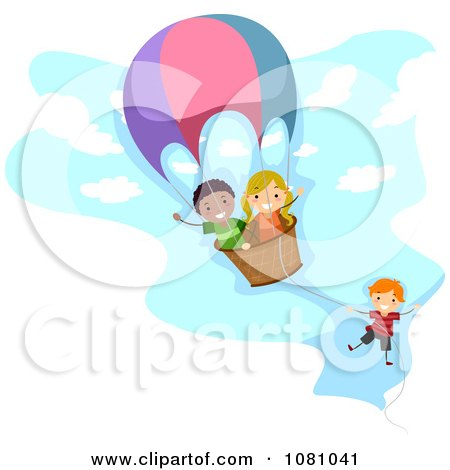 Clipart Stick Kids Playing In A Hot Air Balloon - Royalty Free Vector Illustration by BNP Design Studio