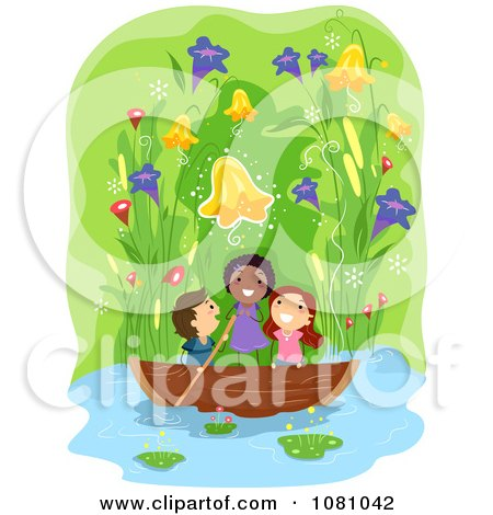 Clipart Stick Kids Boating Under Giant Flowers - Royalty Free Vector Illustration by BNP Design Studio