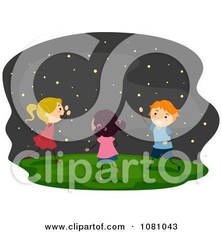 Stick Kids Chasing Fireflies Posters, Art Prints