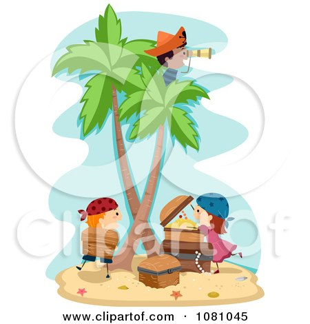 Clipart Stick Kid Pirates On A Treasure Island - Royalty Free Vector Illustration by BNP Design Studio
