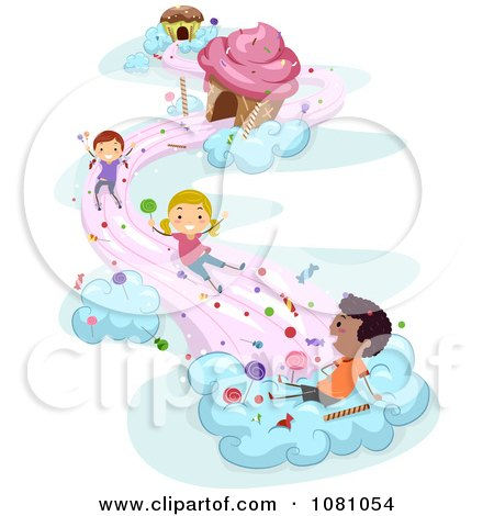 Clipart Stick Kids Playing On Candy Clouds - Royalty Free Vector Illustration by BNP Design Studio