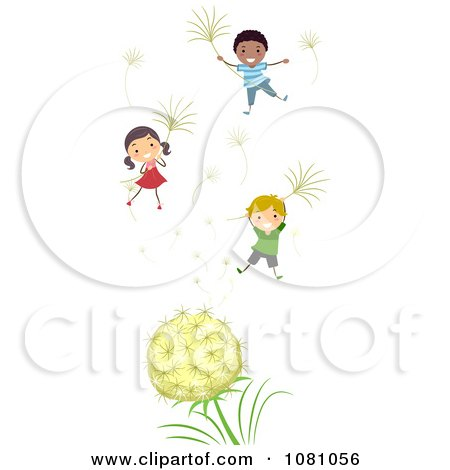 Stick Kids Floating With Dandelion Seeds Posters, Art Prints