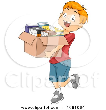 Clipart Charitable Boy Donating A Box Of Books - Royalty Free Vector Illustration by BNP Design Studio