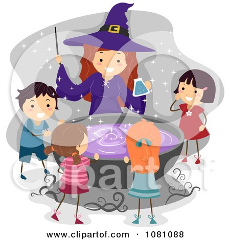 Clipart Halloween Witch And Stick Kids Around A Cauldron - Royalty Free Vector Illustration by BNP Design Studio