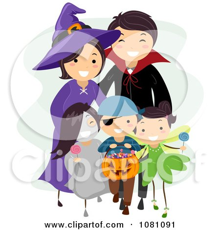 Clipart Halloween Stick Family Trick Or Treating - Royalty Free Vector Illustration by BNP Design Studio