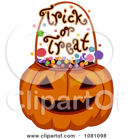 Clipart Halloween Jackolantern With Candy And Trick Or ...