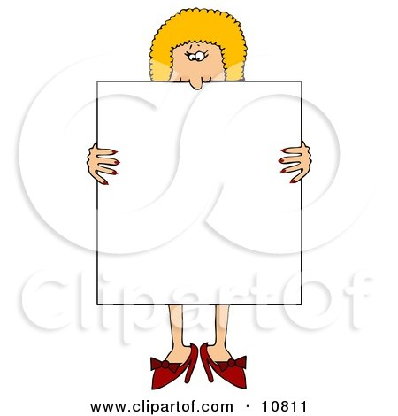 Blond Woman in Heels, Standing Behind and Holding a Blank White Sign Clipart Illustration by djart