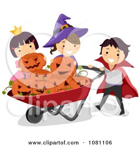 Clipart Halloween Stick Kids Putting Jackolanterns In A Wheelbarrow - Royalty Free Vector Illustration by BNP Design Studio