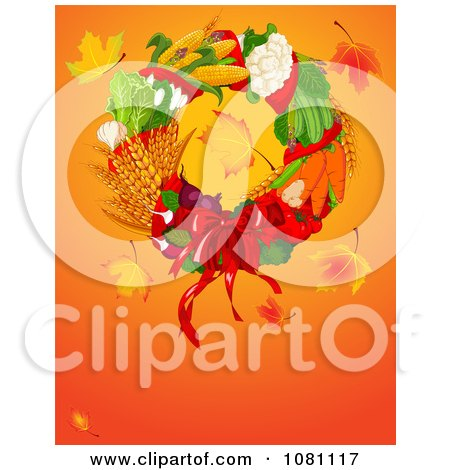 Clipart Autumn Harvest Thanksgiving Wreath With Leaves And Copyspace - Royalty Free Vector Illustration by Pushkin