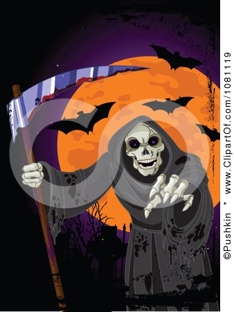 Clipart Grim Reaper Reaching Under An Orange Halloween Moon And Vampire Bats - Royalty Free Vector Illustration by Pushkin