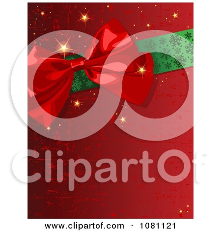 Clipart Scratched Red Gift Wrap Bow And Ribbon Christmas Background - Royalty Free Vector Illustration by Pushkin