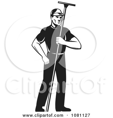 Clipart Retro Black And White Window Washer Holding A Squeegee - Royalty Free Vector Illustration by patrimonio