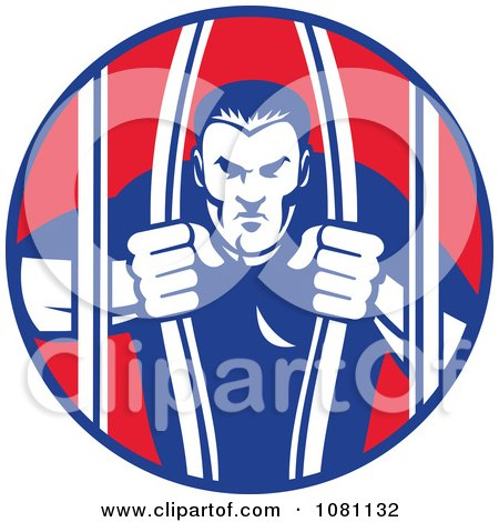 Clipart Retro Prisoner Bailing Out Of Prison Bars - Royalty Free Vector Illustration by patrimonio