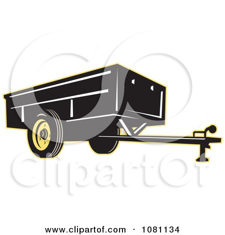 Clipart Black And Yellow Trailer - Royalty Free Vector Illustration by patrimonio