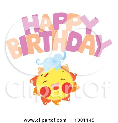 Clipart Elephant On A Sun Under Happy Birthday - Royalty Free Vector Illustration by Cherie Reve